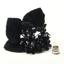 Vintage Posy of Black Velvet Violets Hat Trim